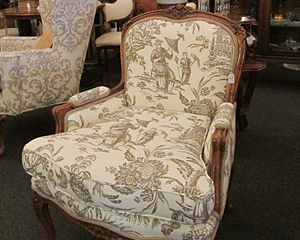 Bergere Chair with Chinoiserie Upholstery