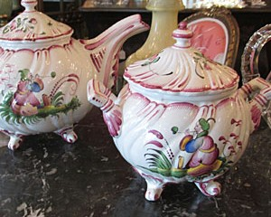French Faience Teapot and Sugar