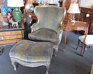 High-back Chair and matching Ottoman