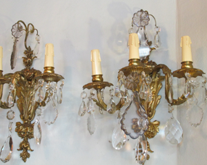 Gilt Bronze Sconces, Pair