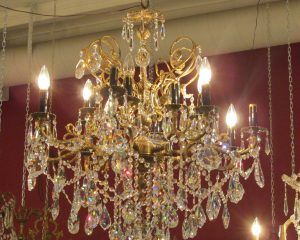 Sixteen-arm Gilt Brass Chandelier