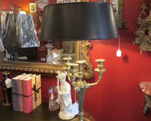French Three-Arm Bronze Lamp