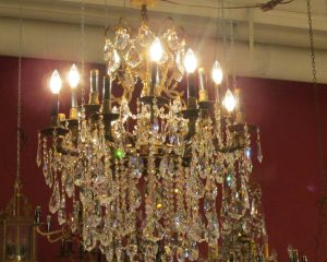 Sixteen-Arm Brass and Crystal Chandelier