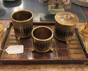 Gentleman's Brass and Wood Smoking Set from Paris