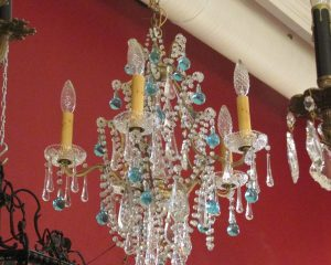 Period Crystal Chandelier with Blue Drops