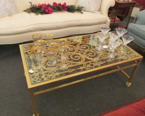 Iron Gold and Glass Coffee Table