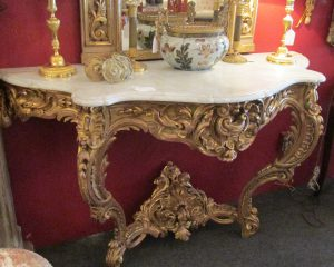 Gilt Wood Wall Console, French Louis XV Marble Top