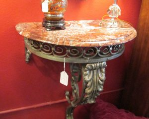 Petite Metal Base Marble Top Wall Console