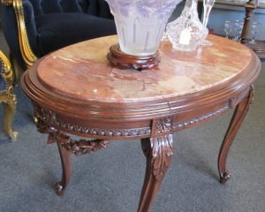 Mahogany Marble Top Carved Coffee Table