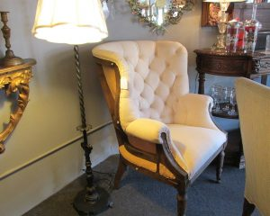 Pair of Armchairs in Cream Linen