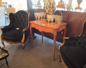 Pair Blue Velvet Gilt Wood Bergeres