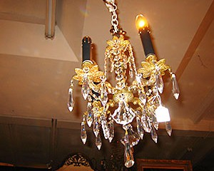 Petite Brass and Crystal Chandelier