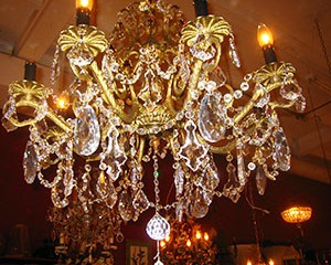 Graceful Brass Framed Chandelier