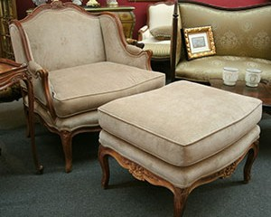 Beau French Bergere Chair And Ottoman